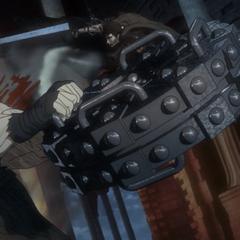 Angel Face's breaking wheel is deflected by Guts' cannon.