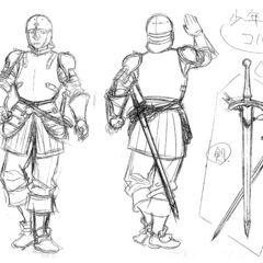 Front and back view sketches of a young Corkus clad in armor, with illustrations of his sword, for the 1997 anime.
