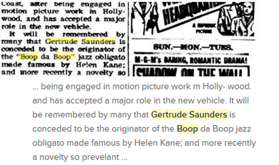 Gertrude saunders conceded to be the originator of boop helen kane