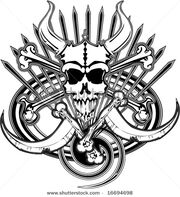 Stock-vector-logo-of-beast-pirate-skull-bones-and-death-scythes-spikes-swirls-and-oval-vector-illustration-16694698
