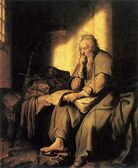 Paul in prison by Rembrandt