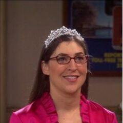 Amy dressed up in her maid of honor dress with her tiara.
