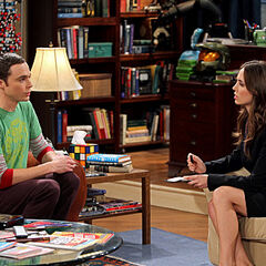 FBI agent Page interviewing Sheldon.