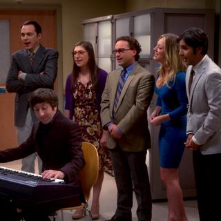 The gang backing up Howard's song for Bernadette.