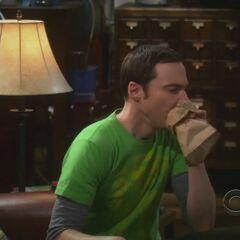 Sheldon calming down after his virtual stuff is stolen.