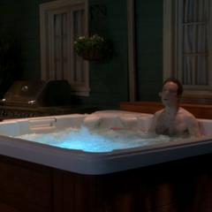 Stuart trespassing in their hot tub.