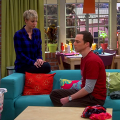 Penny helping Sheldon.