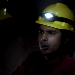 Raj in the steam pipe tunnel.