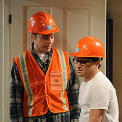 During Sheldon's safety drill, they have to wear safety helmets.