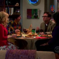 Howard, Bernadette, Leonard and Priya.