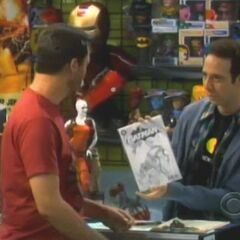 Buying rare Batman comic from Stuart.