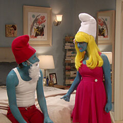 Howard and Bernadette as Smurf and Smurfette.