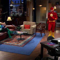 Sheldon pacing (jogging) as the Flash.