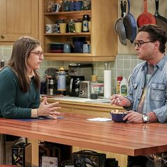 Amy asking Leonard for advice about living with Sheldon.