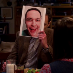 Sheldon hiding behind a happy face using a loophole in the Relationship Agreement.