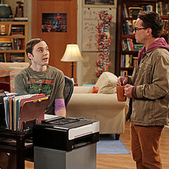 Leonard questions Sheldon if he is fine with Stuart asking Amy out.