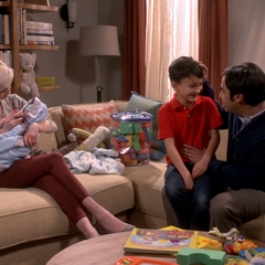 Raj and his fantasy family with Claire.