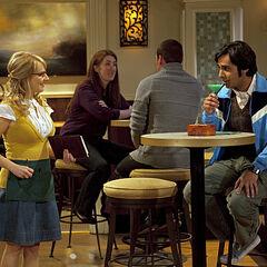 Raj trying to hit on Bernadette.