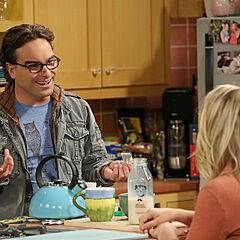 Penny and Leonard in her kitchen.