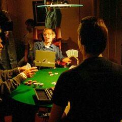 Stephen Hawking on <i>Star Trek: TNG</i> set for Data's holographic poker game including