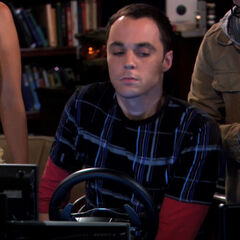 The gang forcing Sheldon to learn to drive.