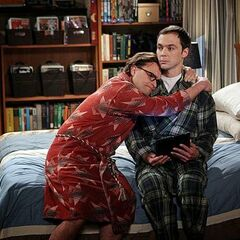 Leonard comforting an unappreciative Sheldon after hearing Professor Proton died.