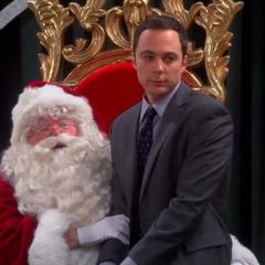 Sheldon on Santa's lap.