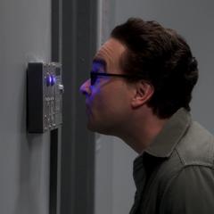 Leonard trying the scanner.