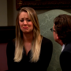 Penny trying to cry at the funeral.