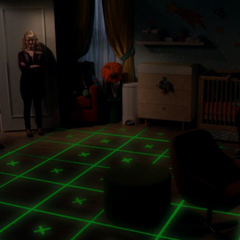 Nighttime nursery floor pattern.