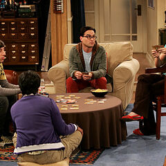 Playing cards with the gang.