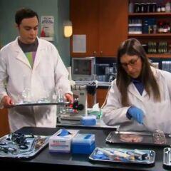 Sheldon cleaning glassware.