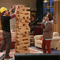 Playing giant Jenga.