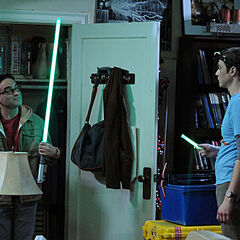 Leonard shows to Sheldon that he has a light to guide him; h.is lightsaber.