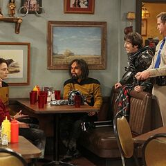 The gang dressed as ST:TNG characters.