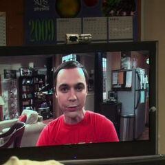Sheldon gloating over his prank.