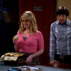 Bernadette has muffins to cheer up Raj.