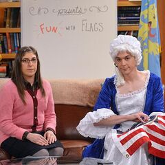 Sheldon dressed as Betsy Ross debunking her myth.