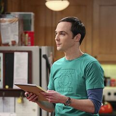 Sheldon working on his universal theory of comedy.