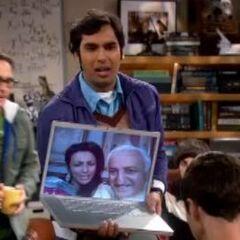 Raj's parents on Skype.