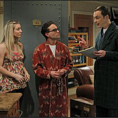Sheldon discussing changes in the Roommate Agreement.