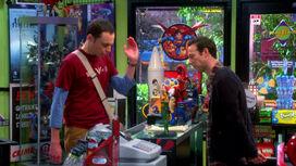 Sheldon buying an Aquaman statue