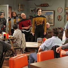 The gang dressed at TNG characters after