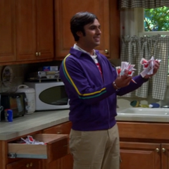 Raj finds Mrs. W's catsup packet collection.