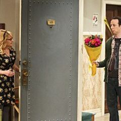 Bernadette slams the door in Stuart's face for Amy.