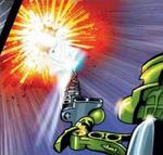 Comic-Tanma Destroying Shadow Leech with Light Energy