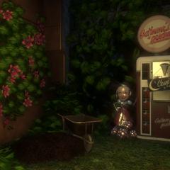Un impecable Jardín de las Recolectoras en el Multijugador de BioShock 2, cerrado por la noche.