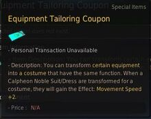Costume equipment tailoring coupon