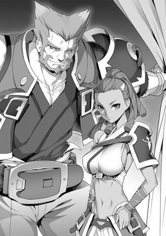 File:BlazBlue Spiral Shift Hyōjin no Eiyū (Black and white illustration, 2).png