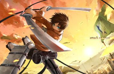 Konachan.com - 159160 aqua eyes eren jaeger shingeki no kyojin shirano sword weapon